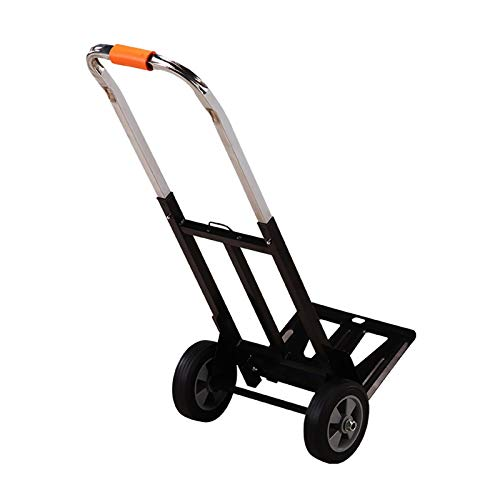 JXSHQS Foldable shopping cart is a convenient and fast trailer, shopping groceries loading and unloading folding luggage cart Shopping Trolleys (Color : Black, Size : M)