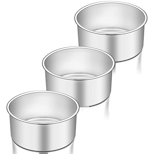 """TeamFar 6 Inch Cake Pan Set of 3, 6"""" x 3"""" Round Cake Pan Deep Tier Baking Cake Pans Stainless Steel, For Birthday Wedding Party, Healthy & Toxic Free, Deep & Straight Size, Oven & Dishwasher Safe"""