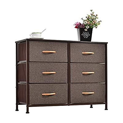 WAYTRIM Dresser Closet with 6 Drawers, Storage Tower Unit for Bedroom, Hallway, Closet, Office Organization, Wood Top, Easy Pull Fabric Bins - Brown