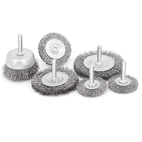 6 Pcs Wire Wheel Cup Brush Set,1/4In Round Shank Wire Brush for Drill Attachment, for Cleaning Rust, Stripping and Abrasive