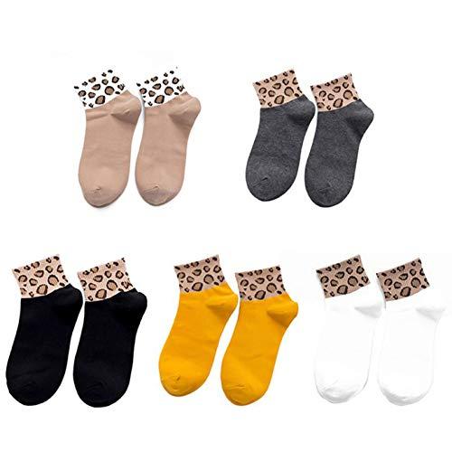 Bella & Flores - Calzini leopardati, confezione da 5, 35-39, multicolore