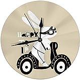 auguce Horloge Murale Ronde Lapin Mignon sur Scooter Impression enfantine avec Lapin pour Enfants vêtements pépinière décorative pour la Maison, Bureau, école 9.8'