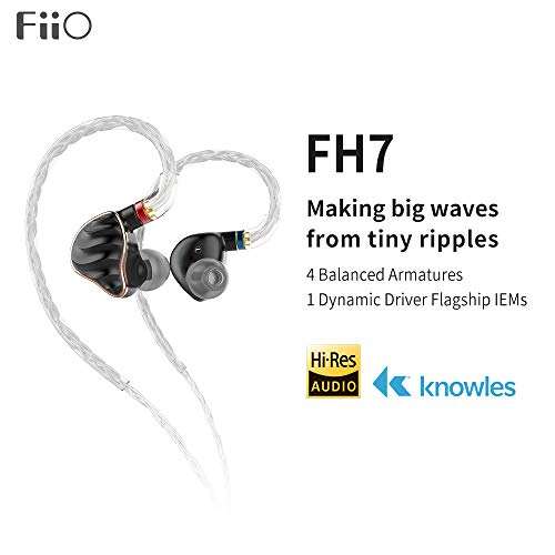 FiiO FH7 5-Drive (1DD + 4BAs) Hybrid in-Ear Earphones/Headphones with DIY Sound Filters,High Fidelity for Smartphones/PC/Tablet (Black)