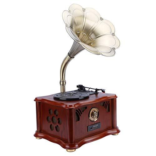 HMBB Mini Vintage Retro Estilo clásico fonógrafo gramófono Forma Estereo Altavoz Sistema de Sonido Caja de música 3.5mm Audio Azul Diente 4.2 Aux-in/Micro SD/USB Flash Drive