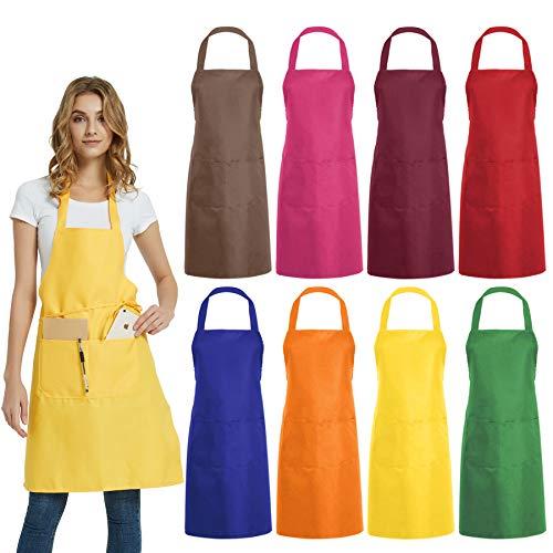 DUSKCOVE - 8 delantales de babero lisos a granel - Delantal comercial de colores mezclados con 2 bolsillos para cocina, restaurante, barbacoa, pintura, manualidades