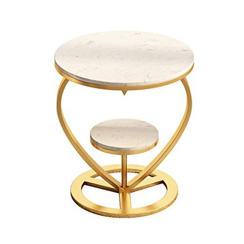 YNN Tavolino da Salotto A 2 Livelli Tavolino da Salotto Rotondo in Marmo Nordico in Ferro, 50 × 60 Cm Bianco