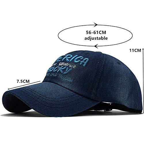Einfache Frauen Baseballmütze 3D Letter StickereiSnapback Hüte Jeans Mädchen Weibliche Mütze Cowboy Sommer Sonnenhut 56-61Cm Blau