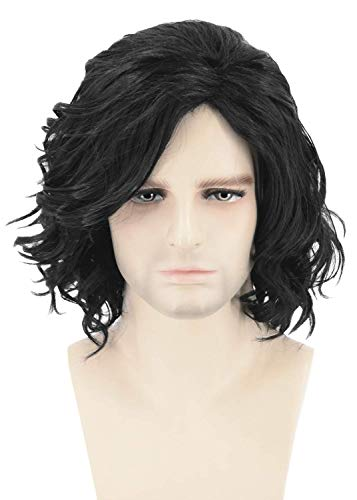 Topcosplay Mens Hair Wigs Black Short Curly Fluffy Cosplay Halloween Costume Party Wigs