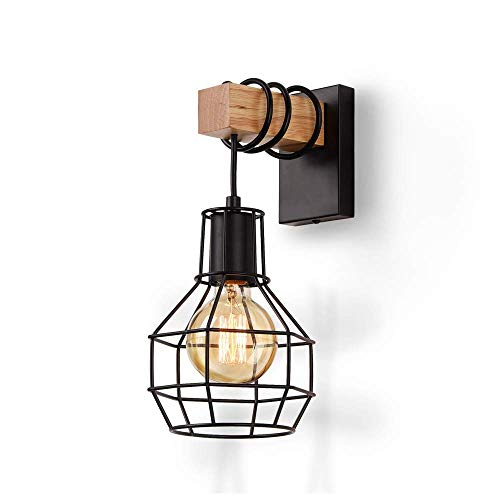 ENCOFT Wandleuchte Innen Vintage Wandlampe SchwarzIndustrial Retro Lampe aus Eisen und Holz E27 fürTreppenhaus Flur Cafe Bar Restaurant Hotel Schlafzimmer Wohnzimmer
