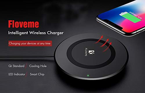 FLOVEME Qi Wireless Charger for iPhone X 8 Plus for Samsung Galaxy Note 8 S8 S9 Plus S7 S6 Edge Phone Charging Dock Accessories (Black)