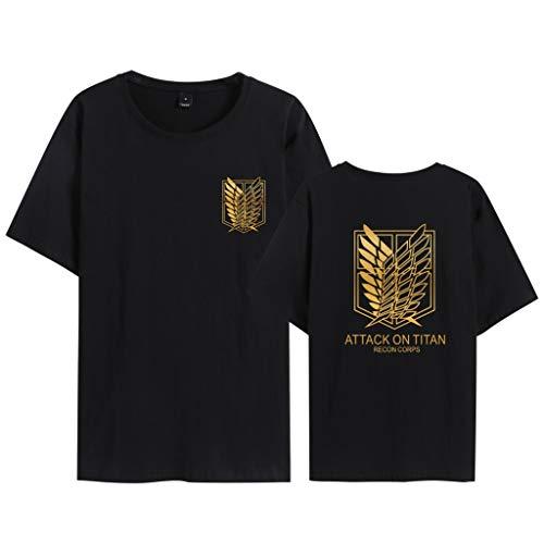 Camiseta Attack On Titan, Camiseta Anime 3D Shingeki No Kyojin Scout Regiment Anime Cosplay T-Shirt Casual Manga Corta Camisetas Ropa Camisa Deportiva Sudadera Tops para Hombre Mujere Niño (BA,XL)