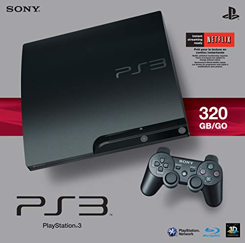 Sony PlayStation 3 Slim 320 GB Charcoal Black Console (Renewed)