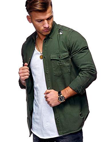 behype. Herren Langarm Destroyed Jeans-Hemd Denim Freizeit-Hemd Shirt 90-8715 Khaki L
