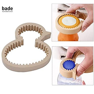 bade home&kitchen Jar and Bottle Opener by, Kitchen Gadgets, Easy Grip Jar Lid and Bottle Opener, Washable, Antibacterial PP Material