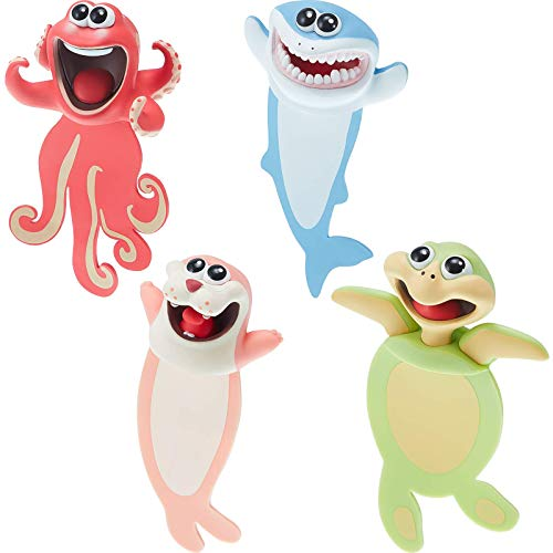 Cartoon Wacky 3D Animal Bookmark,3D Cartoon Cute Bookmark Novelty Funny Stationery for Kids Student Help with Reading(4 PCS) (red)
