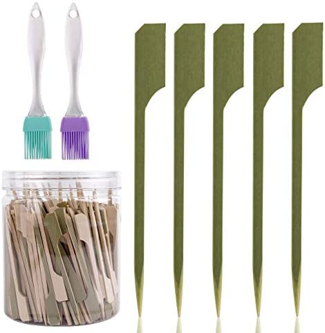 WXJ13 300 Packs Bamboo Paddle Skewers Barbecue Bamboo Skewers 3 5 Inches and 2 Silicone Brushes product image