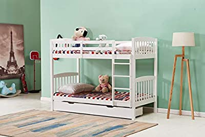 Kosy Koala Heavy Duty White Wood Bunk Bed 3ft Single Split Into 2 Single Beds For Kids Children Adults Options For Drawers And Mattresses Kids Bunkbed (bunk Bed Frame)