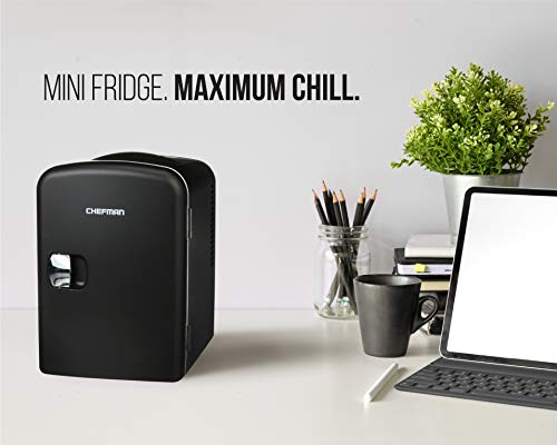 Chefman Mini Portable Black Personal Fridge Cools Or Heats and Provides Compact Storage For Skincare, Snacks, Or 6 12oz Cans W/A Lightweight 4-liter Capacity To Take On The Go