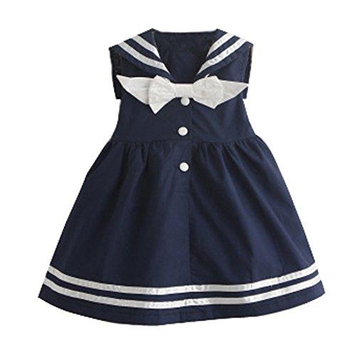 Baby Mädchen Kleinkind Kleine Kinder Sommer ärmelloses Matrosenkleid Marineblau Sommerkleid Baumwolle für 1–3 Jahre Gr. 105 cm, blau