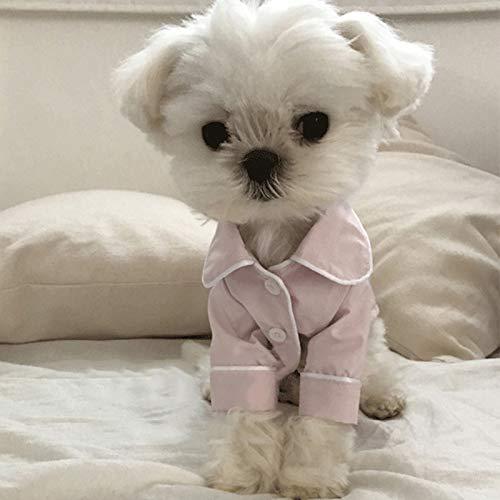 JSANSUI Ropa Personalizada para Perros Ropa del Gato Perro, del Perro casero de simulación Pijamas Pijamas de Seda for los Mascotas Caliente Ropa, Tamaño: M (Color : Pink)