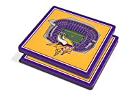"YouTheFan NFL 3D Team StadiumViews 4x4 Coasters - Set of 2, Minnesota Vikings, 4"" x 4"", Team Color"