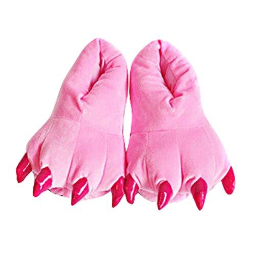 Aivtalk - Garras Animales Zapatillas de Franela Suave Calientes Unisex Invierno Primavera Para Casa Cosplay Festival de Carnaval Navidad Talla EU 38-45 - Rosa