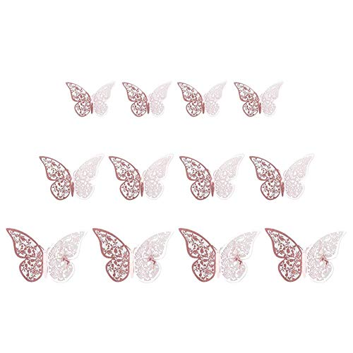 Sunnyushine 12pcs Schmetterling Aufkleber Gold 3D, Butterfly Wall Stickers Art Decor Schmetterling Fliegen Dekor Kunst Dekorationen Für Bedroom Living Room Party and Birthday Decoration