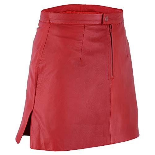 Trendiger Mini Lederrock aus Lammnappa Business Rock Echtleder, 42, Rot