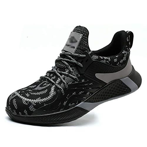 ZYFXZ Zapatos de trabajo livianos de verano para hombres volando tejido despiadado desodorante punción a prueba de seguridad zapatos deportivos con punta de acero gorras URGENTE S1 zapatos de segurida