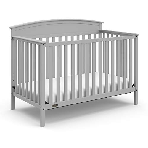 Stork Craft Graco Benton 4-in-1 Convertible Crib, Pebble Gray, Solid Pine and Wood Product Construction, Converts to Toddler Bed or Day Bed (Mattress Not Included)