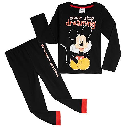 Disney Schlafanzug Jungen, Mickey Mouse Pyjama Kinder Schwarz, 100% Baumwolle Kinder Schlafanzug Lang 18 Monate bis 6 Jahre, Kleinkind und Baby Pyjama Lang Gr. 2-3 Jahre, Schwarz