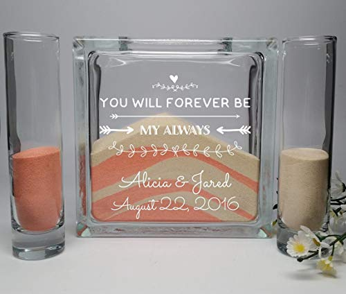 Wedding Candles - Candle Holders - Unity Candle Alternative - Unity Sand Set - Wedding Unity Sand Ceremony Set - Beach Wedding Decor - You Will Forever Be My Always -Unity Candle Sand Set For Weddings
