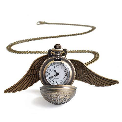 better daily life Retro Smith Flying Ball Steampunk Reloj de Bolsillo con alas de ángel Colgante Collar