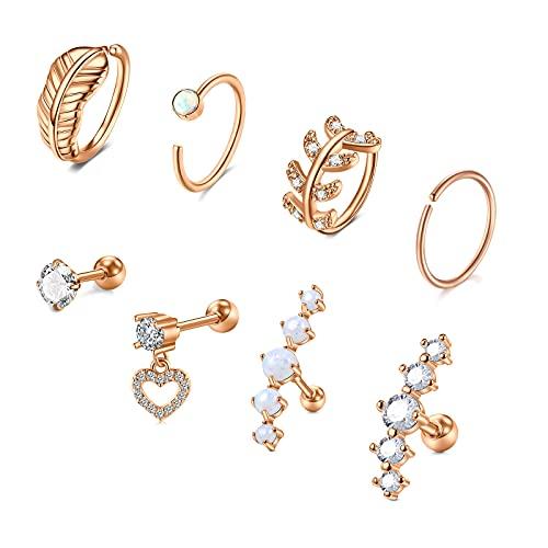 VFUN Piercing Oreja Helix Acero Inoxidable Hoja Piercing Conch Aros Corazón Diamante CZ Piercing Tragus para Mujeres Joyas para Las Orejas - Oro Rosa