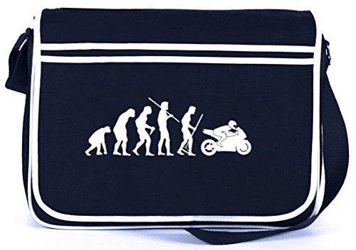 Shirtstreet24, EVOLUTION MOTORRAD, Biker Bike Retro Messenger Bag Kuriertasche Umhängetasche , Größe: onesize,Navy