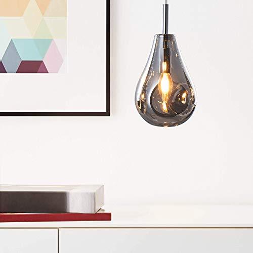 Lightbox Pendelleuchte, Moderne Hängelampe 1-flammig, 1x GU10 max. 5 Watt aus Glas/Metall in rauchglas/chrom