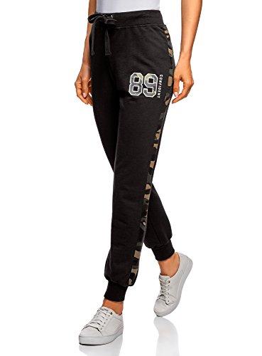 oodji Ultra Mujer Pantalones de Punto con Acabado en Contraste