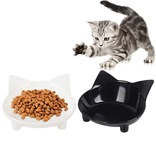 Ciotole per Gatti,2 Pezzi Ciotole Antiscivolo per Gatti,Ciotola per l'alimentazione del Gatto,Ciotole per l'acqua Dell'animale Domestico,Ciotole per Cani,per Cani di Piccola Taglia,Gatti(Nero, Bianco)