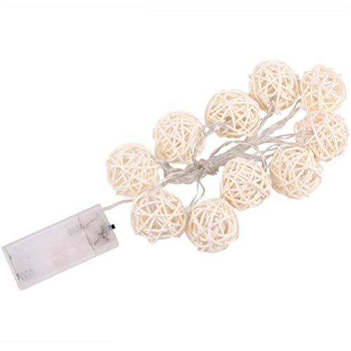 Uonlytech Globe Rattan Ball String Lights, 4.9ft 10 LED Fairy String Lamps, Battery Powered Garden Fairy Light for Christmas Wedding Home Party Decor - Pure White