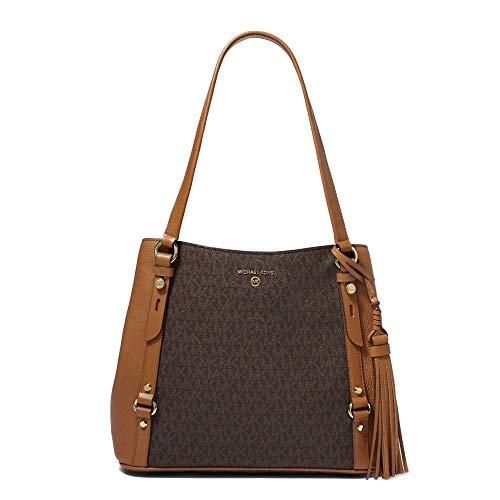 Canvas and leather upper Magnetic snap button closure and Gold-tone Metal Leather tassel and Back slip pocket Interior details: back zip pocket, 2 back slip pockets, center zip compartment, 6 front slip pockets Dimensions: Width 35cm, Height: 26cm, D...