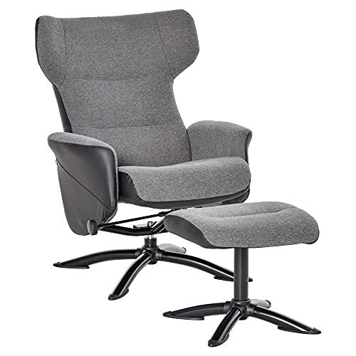 HOMCOM Ruhesessel Sessel Fernsehsessel Relaxsessel Liegesessel Ledersessel Loungesessel 360° drehbar mit Fußstütze und Couch verstellbar Grau 72 x 85,5 x 83-99 cm