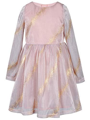 BONNY BILLY Meisjes Lange Mouw Glitter Gouden Streep Tulle Fancy Party Verjaardag Prinses Jurk
