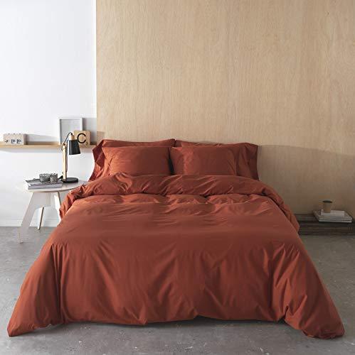 BOHEME Funda Nórdica Lisa Caldera 100% algodón 200 Hilos, Cama de 135 cm