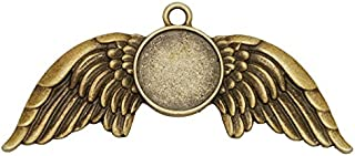 16mm Round Angel's Wings pendant tray,zinc alloy filled,10 pieces/lot (1000308 Antique Bronze)