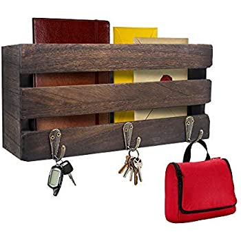 Rustic Key Holder for Wall Decorative ~ Key and Mail Holder for Wall with 3 Key Hooks ~ Key Hanger for Wall, Entryway, Bathroom, Living Room, Kitchen (Brown)