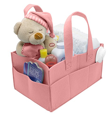 Sorbus Felt Baby Organizer Diaper Caddy with Handle, Luxury Storage for Diapers, Baby Wipes, Supplies, etc — Portable, Foldable, Removable Compartments — For Home,Nursery, Car (Pink)