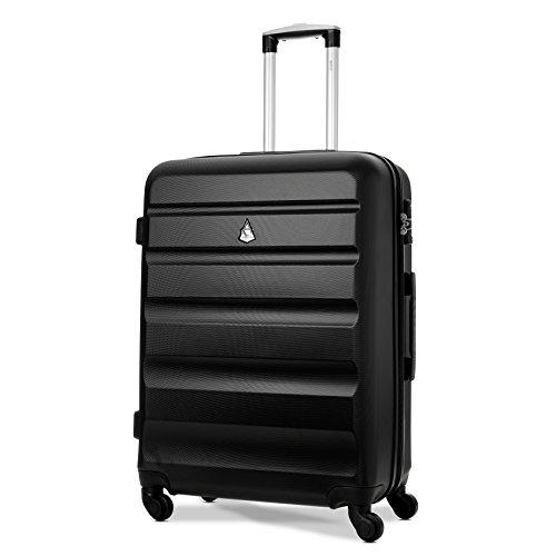 Aerolite ABS Hartschale 4 Rollen Leichter Handgepäck Kabinenkoffer mit eingebautem TSA Schloss für Ryanair, BA & viele mehr, 69cm, Schwarz