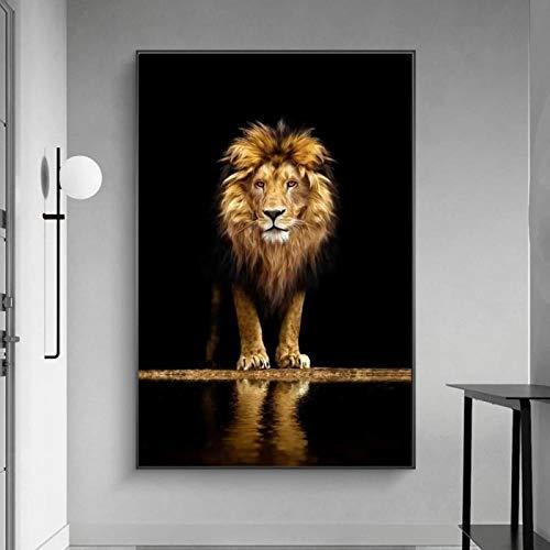 ZCFDXXH Moderne Einfachheit Wilde Löwen Leinwand Malerei Schwarz und Gold Tiere Poster und Drucke Wandkunst Bild Raum Wohnkultur-60x80cm (kein Rahmen)
