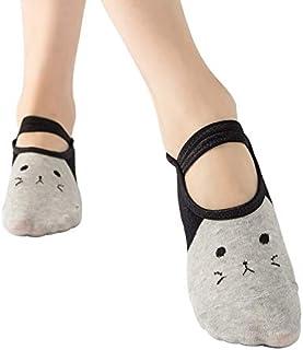 Tanxinxing 3pairs / Set Calcetines de Barco de Encaje de Ballet Calcetines de Yoga Calcetines Antideslizantes Calcetines de trampolín, Color enviado aleatoriamente (Color : Random)