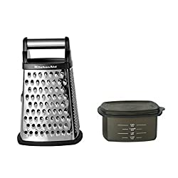 cheap KitchenAid Gourmet 4-sided stainless steel grater, removable storage container, small, …